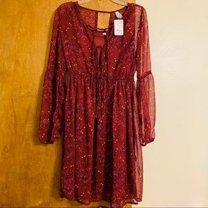 NWT Mudd Junior's Maroon Floral Long Sleeve Dress